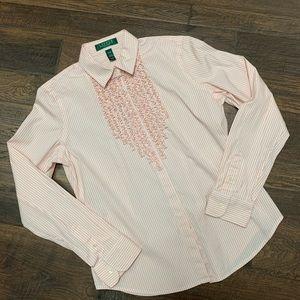 Lauren Ralph Lauren Striped Ruffle Button-up Shirt